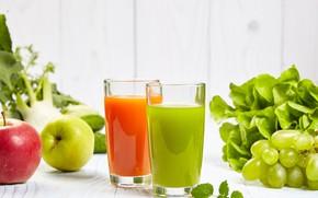 Картинка зелень, сок, виноград, перец, напиток