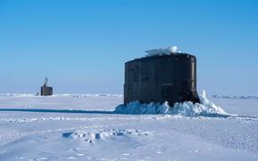 Картинка холод, лед, арктика, подводные лодки