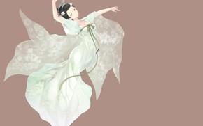 Картинка девушка, фон, платье, азиатка