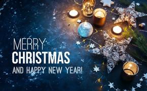 Обои гирлянда, свечи, праздник, Merry Christmas, свеча, Новый год, Рождество, звезда, New year