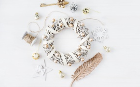 Картинка Новый Год, Рождество, white, vintage, merry christmas, decoration