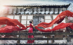 Картинка девушка, стиль, фотошоп, материя, ткань, азиатка, красное платье