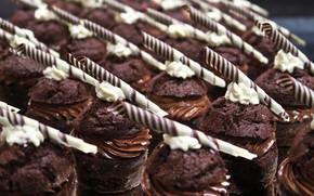 Картинка шоколад, пирожное, крем, десерт, выпечка, кексы
