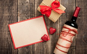 Картинка любовь, подарок, вино, сердце, бутылка, сердечки, red, love, wood, wine, romantic, hearts, Valentine's Day, gift
