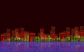 Картинка Вода, Отражение, Город, Ретро, Арт, Графика, Пиксели, 8bit, 16bit