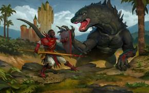 Картинка фантазия, дракон, воин, арт, копье, щит, чудовище, рыцарь