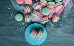 Картинка фон, тарелка, пирожное, cake, выпечка, background, macaroons, pastries, макаруны