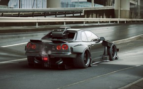 Картинка Nissan, Car, Skyline, Tuning, Future, R34, Rear, by Khyzyl Saleem
