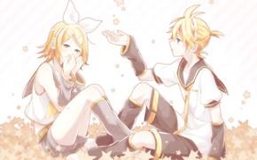 Картинка девушка, нежность, звёздочки, парень, двое, Vocaloid, Вокалоид, Кагомине Лен, Кагомине Рин