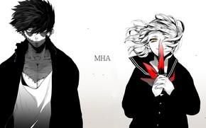 Картинка девушка, аниме, парень, двое, Boku no Hero Academia, Моя геройская академия