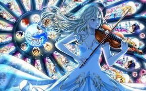 Обои арт, скрипка, девушка, shigatsu wa kimi no uso