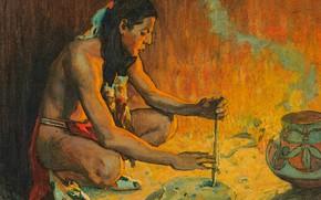 Картинка Eanger Irving Couse, Drilling Turquoise, разжигание огня