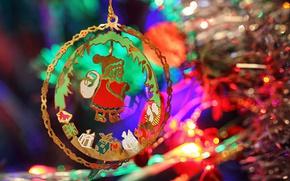 Картинка макро, праздник, игрушка, новый год