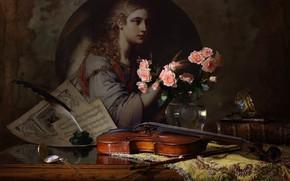 Картинка перо, скрипка, часы, розы, картина