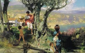 Картинка пейзаж, цветы, озеро, дерево, женщина, масло, Деревня, Рим, кувшин, Холст, ребёнок, сопки, Генрих СЕМИРАДСКИЙ