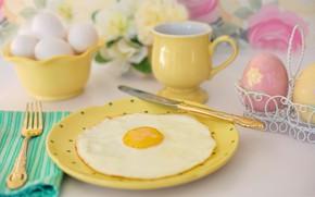 Картинка завтрак, тарелка, нож, чашка, вилка, яичница