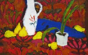 Картинка 2006, кувшин, натюрморт, груши, Петяев, цветочные узоры, цветок в горшке