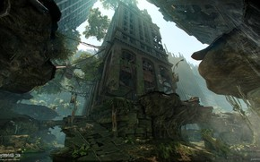 Картинка здания, разрушения, вертолёт, Financial District, Crysis 3 MP