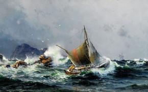 Картинка камни, чайки, моряк, Herman Gustav Sillen, Море и корабли, волный