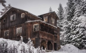 Обои дом, снег, зима