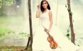 Картинка девушка, музыка, качели, скрипка