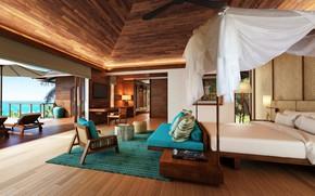 Картинка интерьер, бунгало, Seychelles