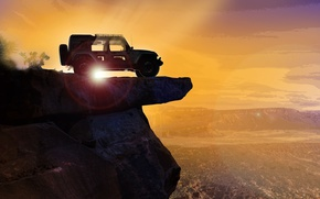 Обои car, sky, landscape, Jeep, montain, vale, Jeep Easter Safari