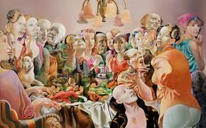 Картинка люстра, Фигуративная живопись, Normunds Braslins, Общество I, люди, 1993, пир