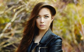 Картинка глаза, взгляд, девушка, весна, куртка, Саша, боке, кожанка, косуха, Oleg Gekman, Александра Бруцкая