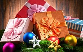 Картинка ветки, шары, игрушки, подарки, Новый год, звёздочки, разноцветные, ленточки, коробки