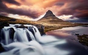 Картинка тучи, гора, водопад, Исландия, Киркьюфетль