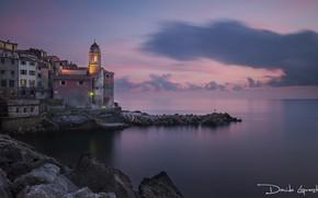 Картинка море, небо, пейзаж, закат, берег, горизонт, Италия
