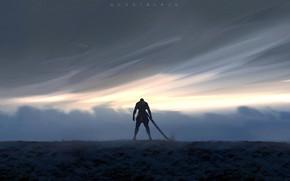 Обои sword, fantasy, sky, weapon, clouds, men, digital art, artwork, warrior, fantasy art, Ghostblade, WLOP