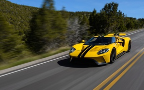 Картинка car, Ford, Ford GT, yellow, race, speed, fast