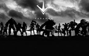 Картинка axe, gun, pistol, logo, game, mecha, weapon, blade, bow, warrior, arrow, MOBA, Paragon