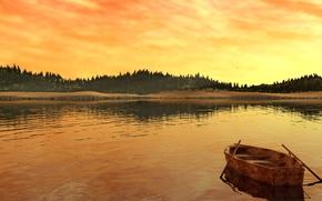 Обои пейзаж, река, берег, деревья, заря, лодка, озеро