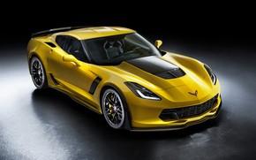 Картинка Z06, Corvette, Chevrolet, черный фон, шевроле, корветт