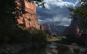 Картинка горы, река, растительность, Ancient Gates