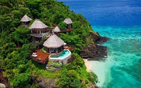 Картинка лес, тропики, океан, остров, гора, Фиджи, курорт, Resort in Fiji, Laucala Island