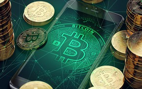 Обои bitcoin, money, phone