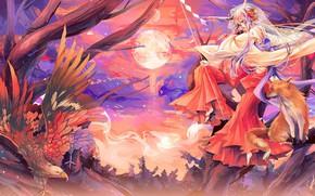 Картинка лисица, крылья, жрица, на дереве, орел, kitsune, полнолуние, оперение, рога, японская одежда