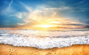 Картинка песок, море, пляж, небо, закат, берег, beach, sea, seascape, sand, wave