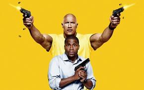 Картинка cinema, gun, weapon, yellow, spy, man, movie, tatoo, The Rock, Dwayne Johnson, film, pose, strong, ...