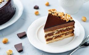 Обои орехи, шоколад, крем, пирожное, десерт