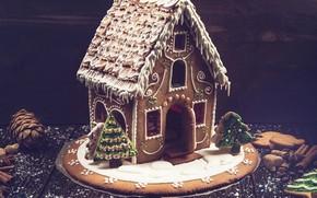 Картинка елка, печенье, Новый год, домик, корица, выпечка, глазурь, пряничный