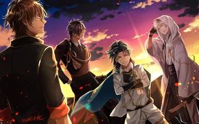 Обои закат, аниме, парни, Танец мечей, арт, Touken Ranbu