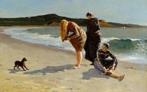 Обои собака, жанровая, картина, берег, люди, море, Высокий Прилив, Winslow Homer, Уинслоу Хомер