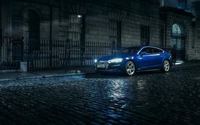 Картинка Audi, Ночь, Синий, Улица, Автомобиль, 2.0, Sportback, 2017, S line, Металлик, TDI quattro
