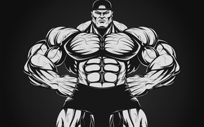 Картинка поза, фигура, арт, muscle, мышцы, muscles, пресс, атлет, Bodybuilding, бодибилдер, abs, weight, bodybuilder