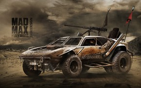 Обои Авто, Рисунок, Машина, Фон, Car, Автомобиль, Арт, Art, Рендеринг, Pantera, Mad Max, Mad Max Fury ...